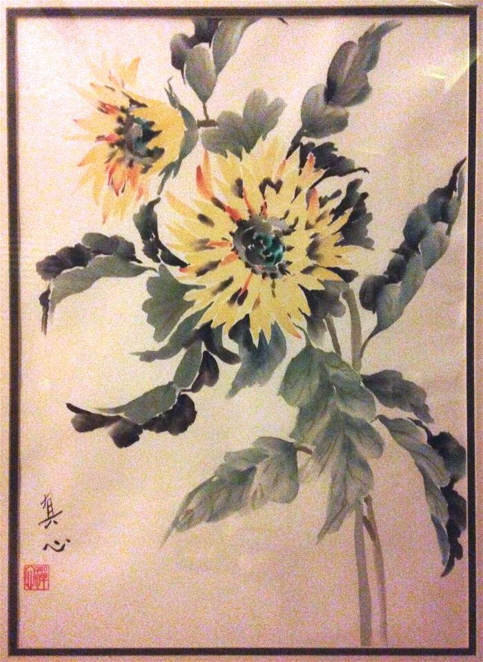 Sunflowers by Diana Zen Watercolor on Shuen Xuan Paper